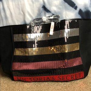 Victorias secret sequin beach bag tote & case